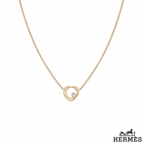 Hermès Rose Gold Diamond Vertige Coeur Necklace